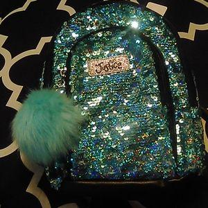 Justice Teal Sparkle Kids Backpack Purse ❤️FIRM❤️